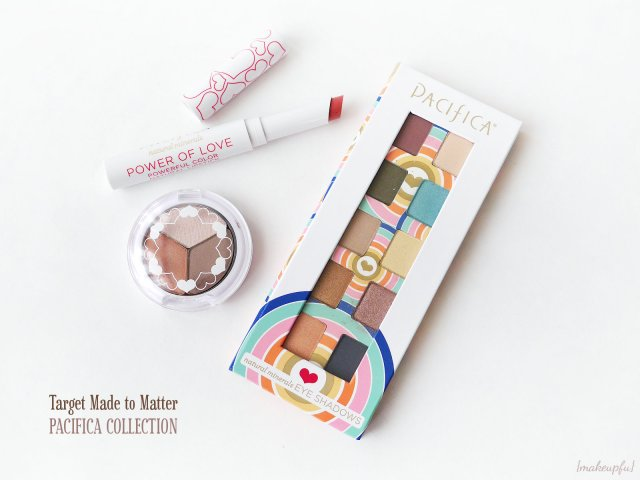 Target Made to Matter Pacifica Collection: Power of Love Eyeshadow Palette, Love 3 Eye Shadow Trio, and Power of Love Natural Lipstick in Nudie Red