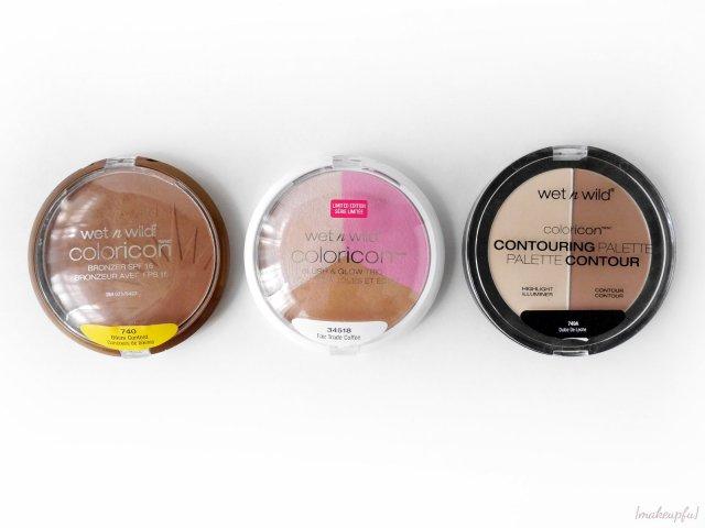 Size comparison of the Wet n Wild ColorIcon Bronzer SPF in Bikini Contest, Blush & Glow Trio in Fair Trade, and Contouring Palette in Dulce de Leche