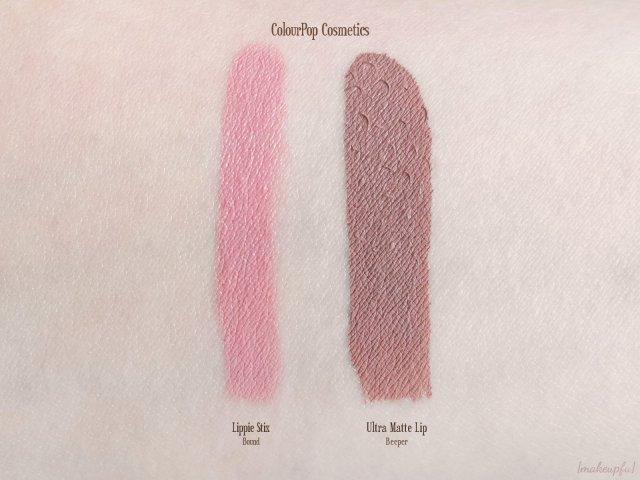 Swatches of ColourPop Lippie Stix in Bound & Ultra Matte Lip in Beeper