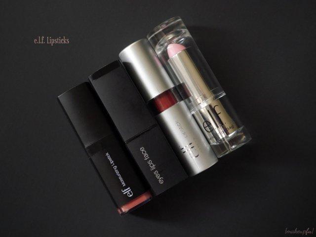 e.l.f. lipstick comparison: Studio Moisturizing Lipstick, Studio Mineral Lipstick, Essential Lipstick, and the Gotta Glow Lip Tint