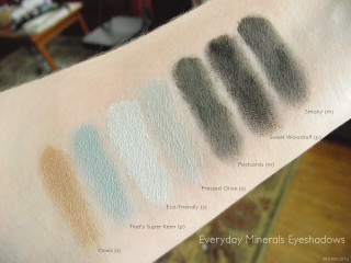 Everyday Minerals Swatches in Gold, Green & Grey Eyeshadows: Oasis, That's Super Keen, Eco-Friendly, Pressed Olive, Postcards, Sweet Woodruff, and Smokey