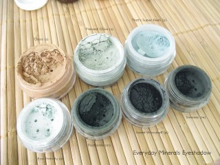 Everyday Minerals Gold, Green & Grey Eyeshadows: Oasis, That's Super Keen, Eco-Friendly, Pressed Olive, Postcards, Sweet Woodruff, and Smokey