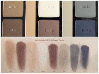Swatches of tarte Call of the Wild 8-Shadow Palette