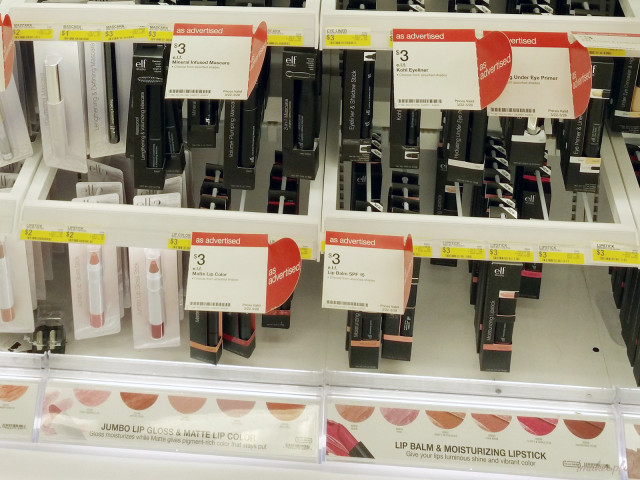 Closeup of e.l.f. lip and eye products for the 2015 lineup at Target