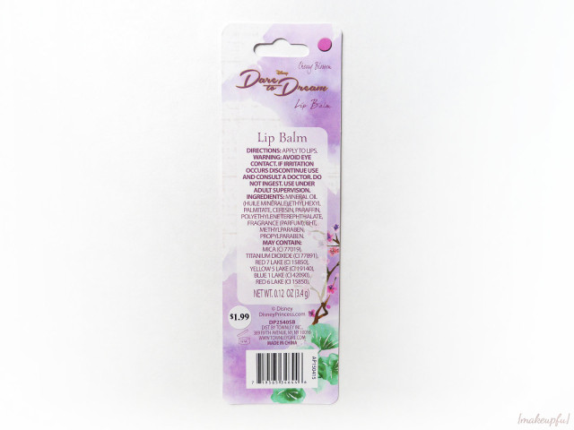 Reverse of the Townley Disney Princess Lip Balm in Mulan Cherry Blossom