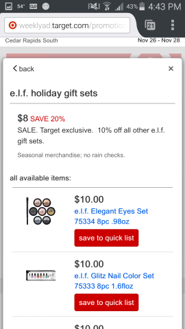e.l.f. Holiday 2015 Sets on sale during the Target Black Friday Preview