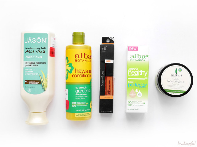 T.J.Maxx haul: Jason Aloe Vera Conditioner, Alba Botanica Hawaiian Conditioner in So Smooth Gardenia, e.l.f. Studio Glossy Gloss in Tangy Tangerine, Alba  Botanica Good & Healthy Tinted Perfector Moisturizer, and Sukin Purifying Facial Mask