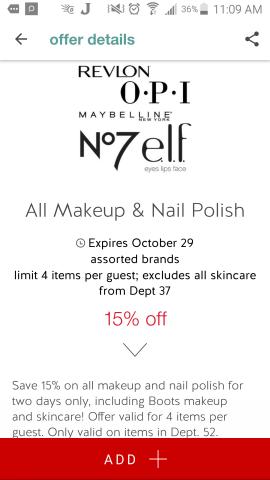Makeup sale on Target Cartwheel